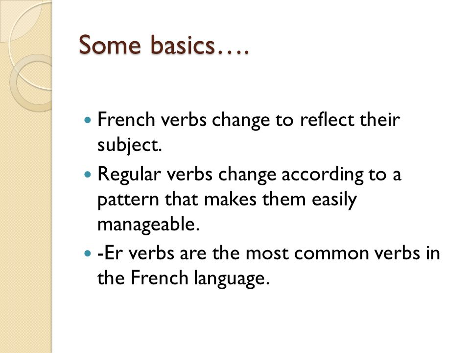 Some basics…. French verbs change to reflect their subject.