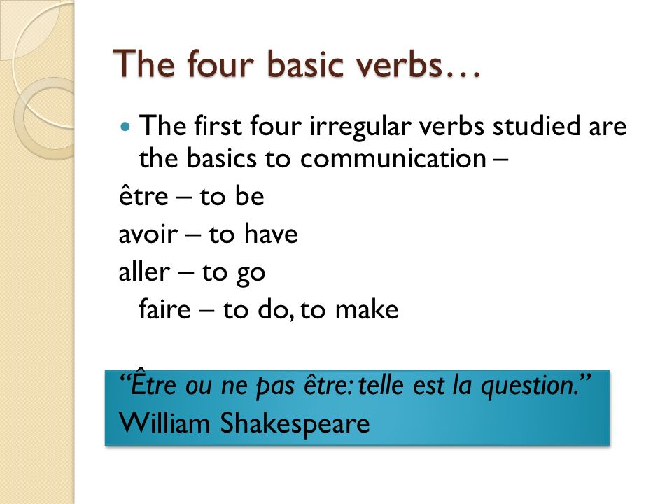 The four basic verbs… The first four irregular verbs studied are the basics to communication – être – to be.