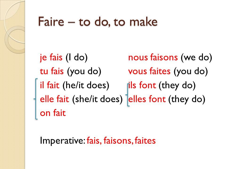 Faire – to do, to make je fais (I do) nous faisons (we do)