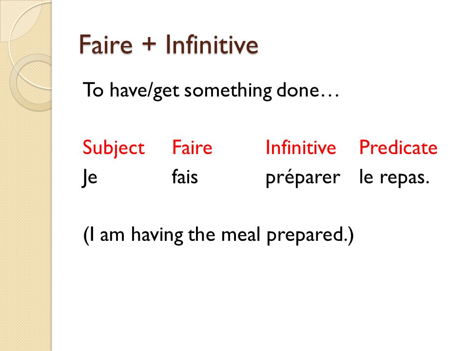 Faire + Infinitive To have/get something done… Subject Faire Infinitive Predicate Je fais préparer le repas.