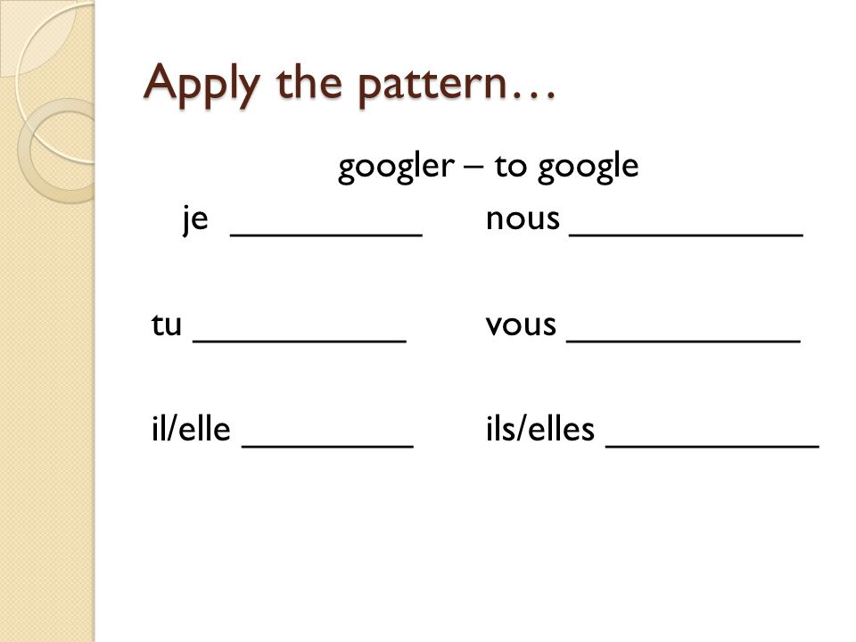 Apply the pattern… googler – to google je _________ nous ___________ tu __________ vous ___________ il/elle ________ ils/elles __________