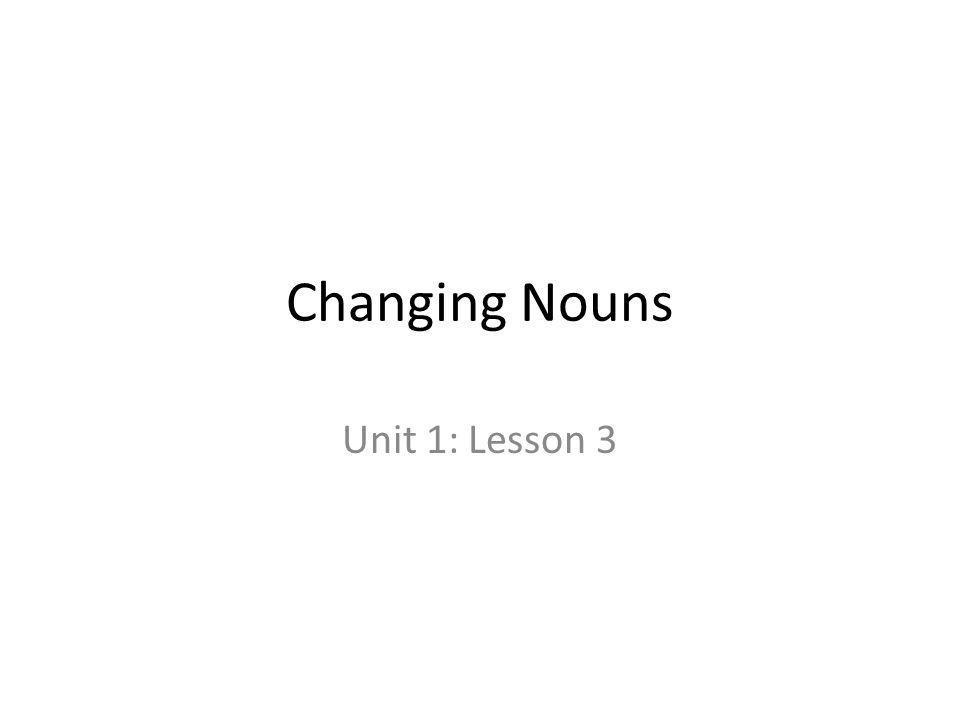 Changing Nouns Unit 1: Lesson 3