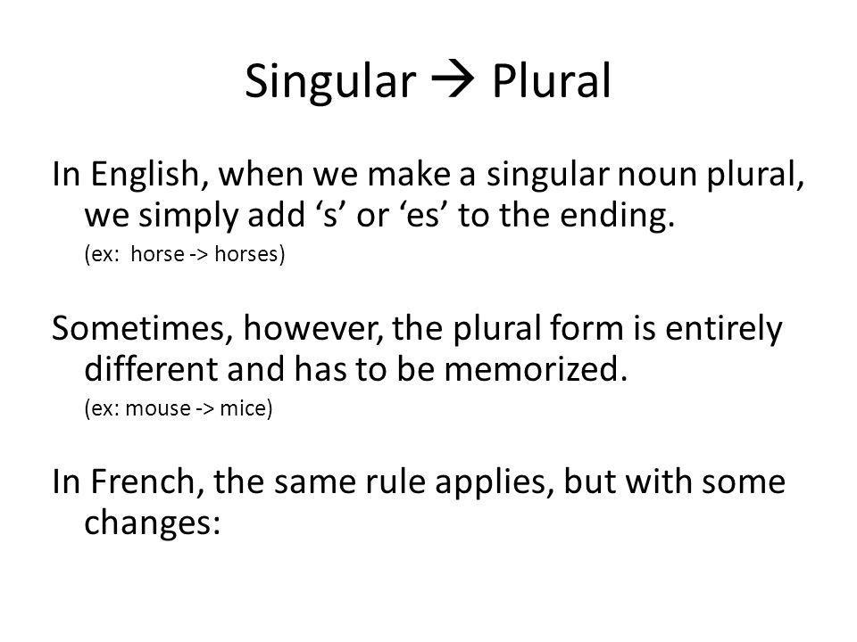 Singular  Plural In English, when we make a singular noun plural, we simply add 's' or 'es' to the ending.