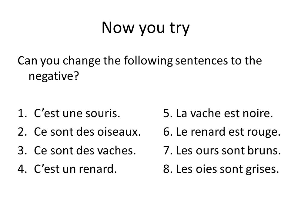 Now you try Can you change the following sentences to the negative