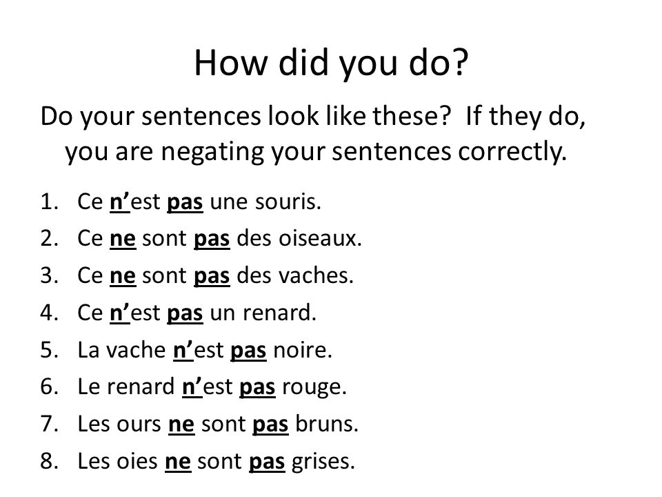 How did you do Do your sentences look like these If they do, you are negating your sentences correctly.