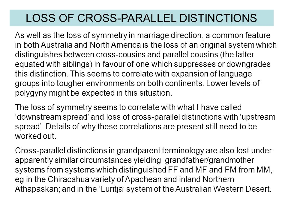 LOSS OF CROSS-PARALLEL DISTINCTIONS