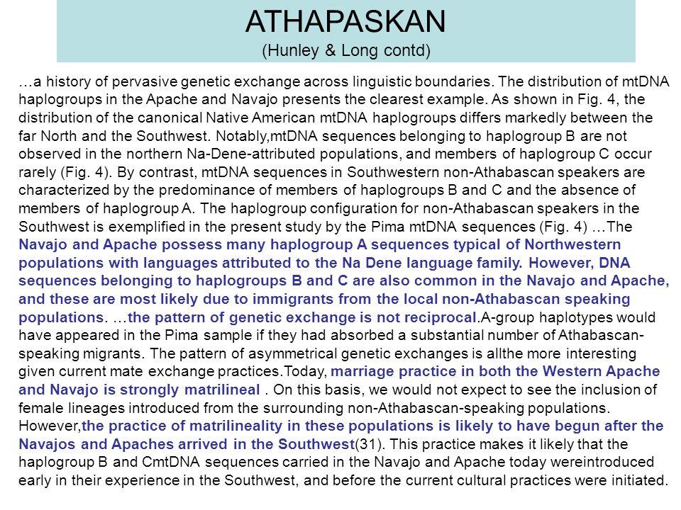 ATHAPASKAN (Hunley & Long contd)