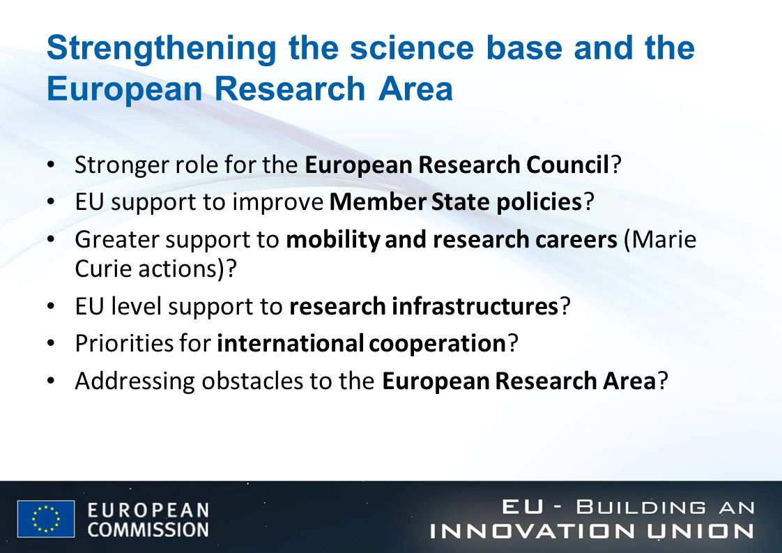 Strengthening the science base and the European Research Area
