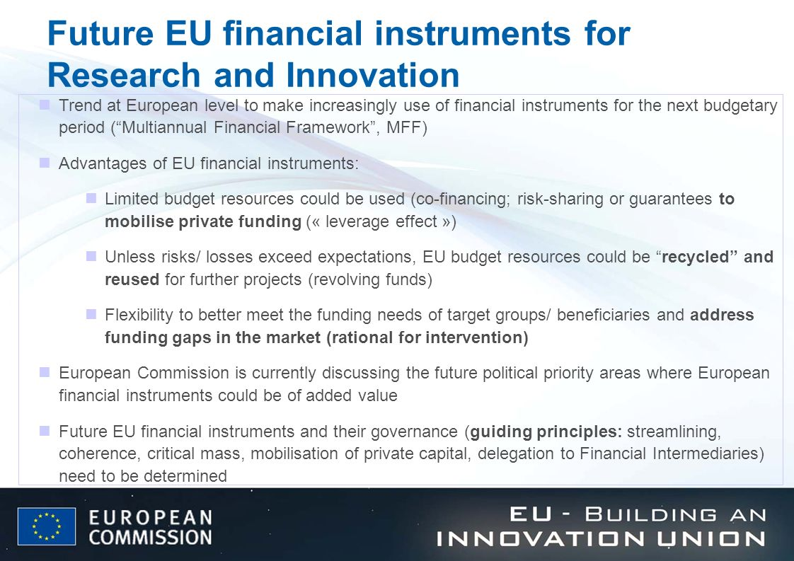 Future EU financial instruments for Research and Innovation