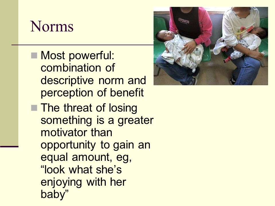 Norms Most powerful: combination of descriptive norm and perception of benefit.