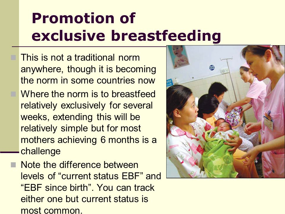 Promotion of exclusive breastfeeding