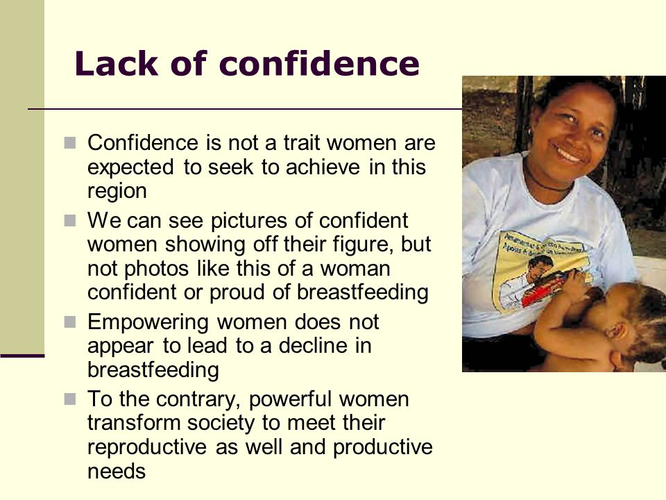 Lack of confidence Confidence is not a trait women are expected to seek to achieve in this region.