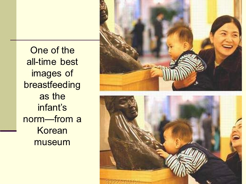 One of the all-time best images of breastfeeding as the infant's norm—from a Korean museum