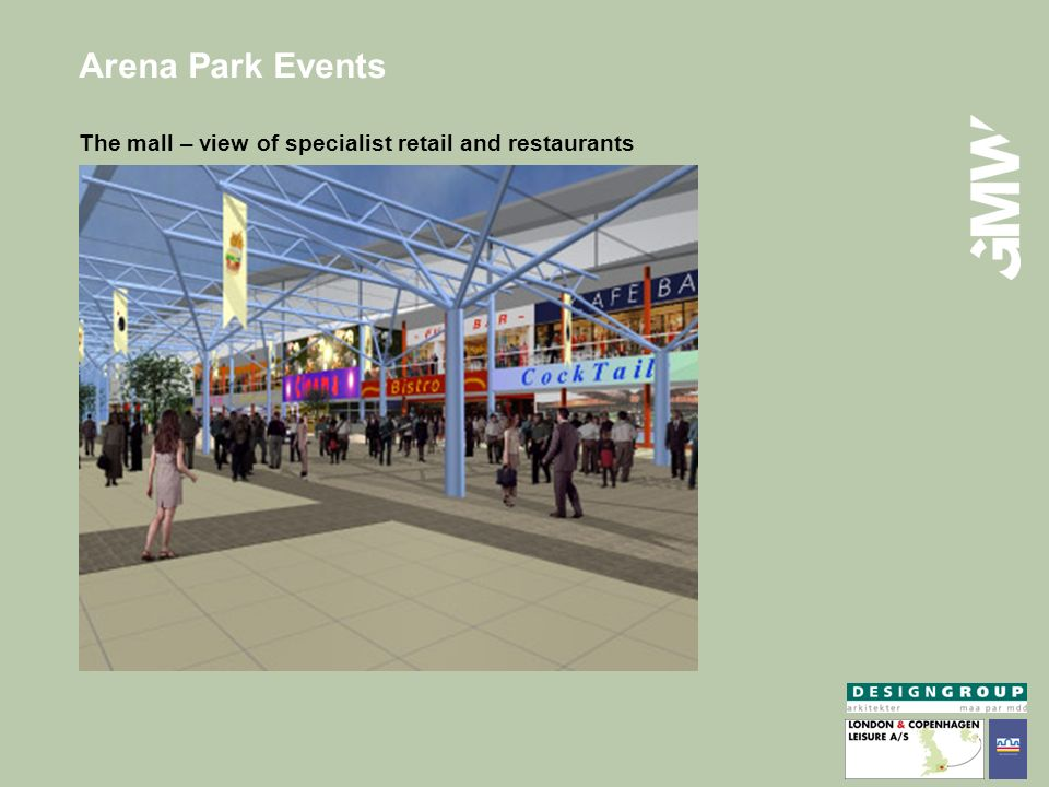 Arena Park Events The mall – view of specialist retail and restaurants
