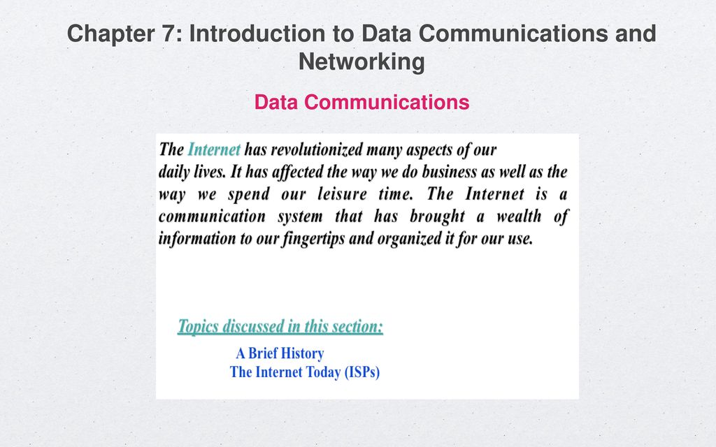 Chapter 7: Introduction to Data Communications and