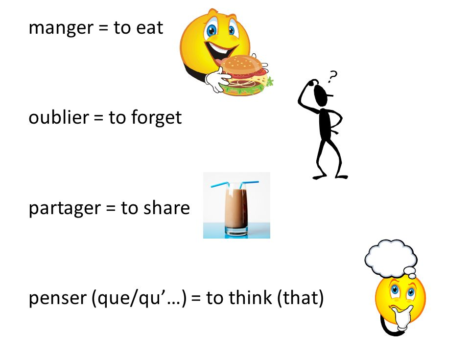 manger = to eat oublier = to forget partager = to share penser (que/qu'…) = to think (that)