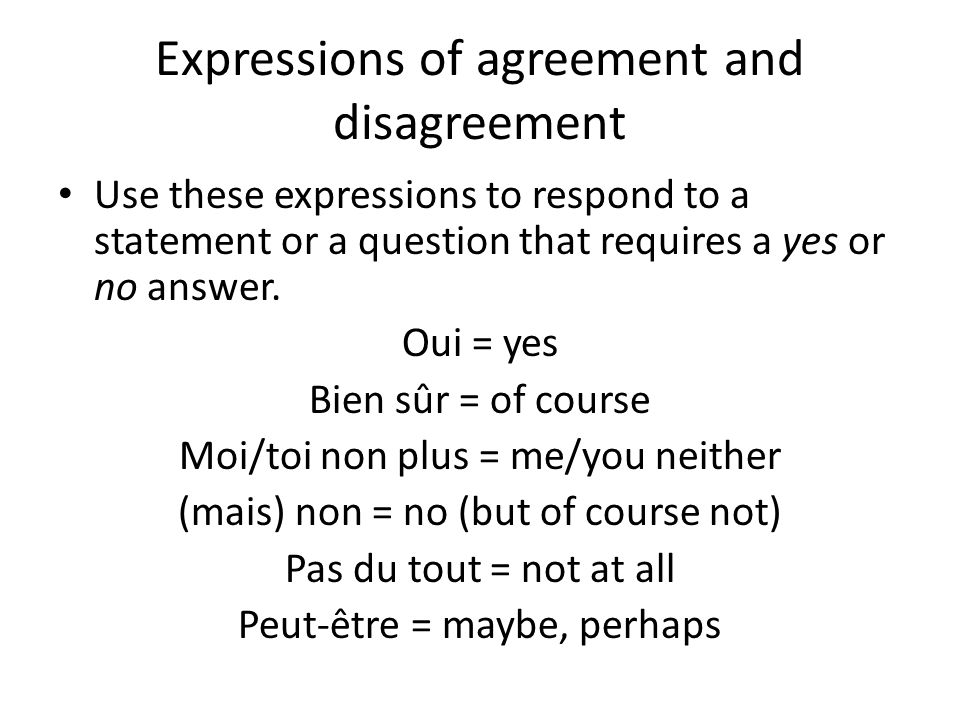 Expressions of agreement and disagreement