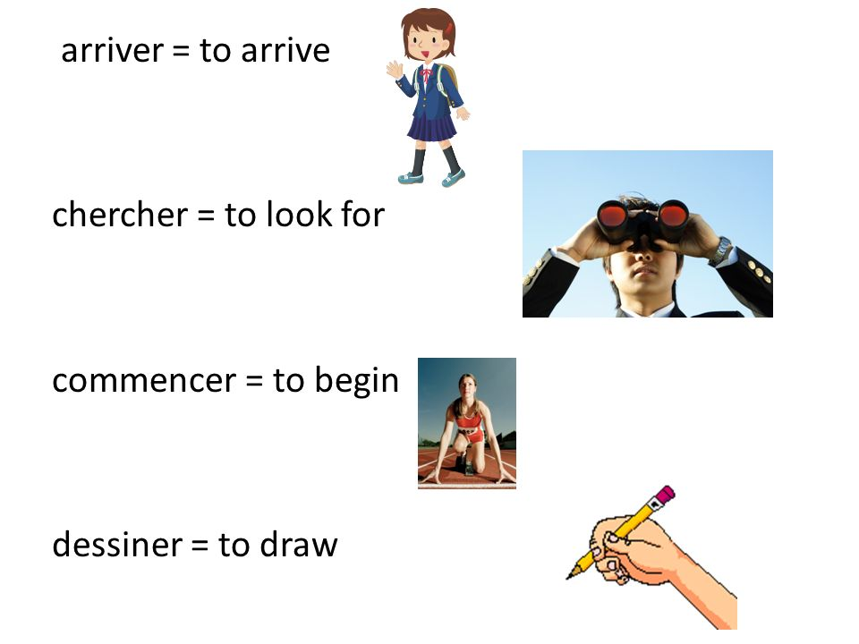 arriver = to arrive chercher = to look for commencer = to begin dessiner = to draw