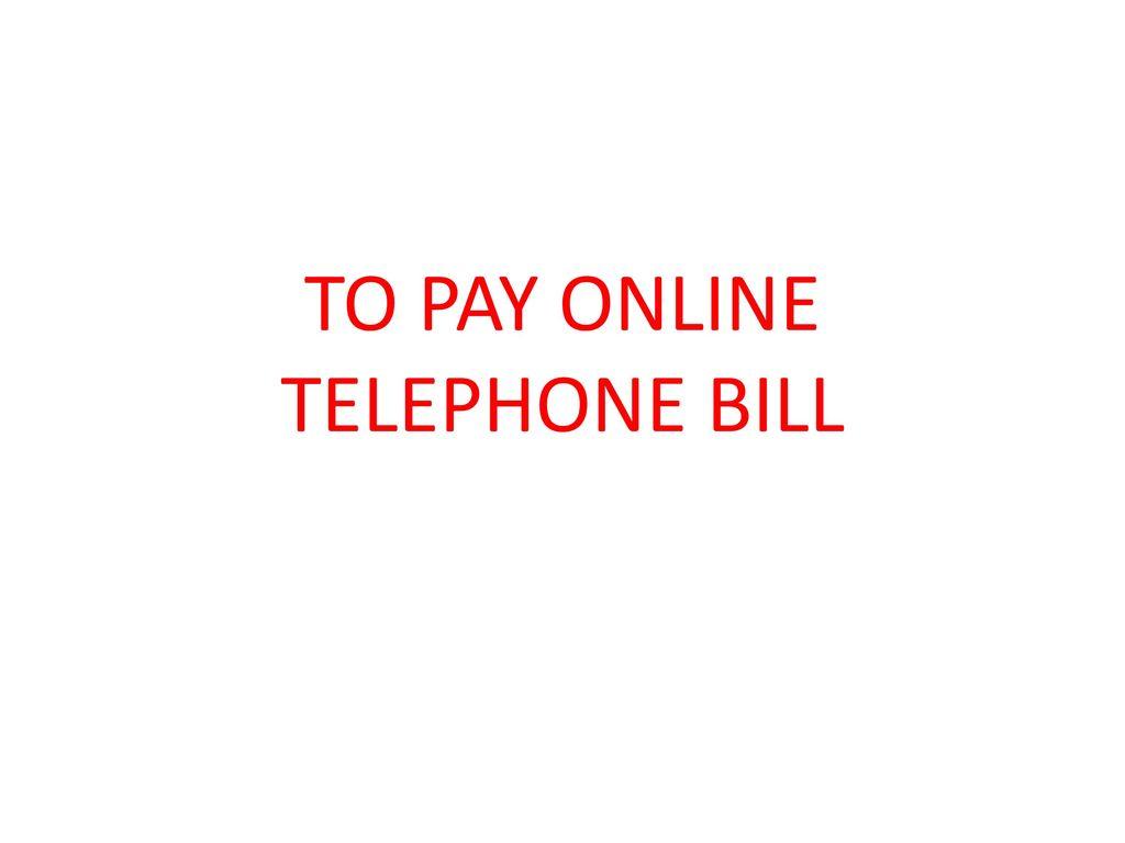telephone bill online