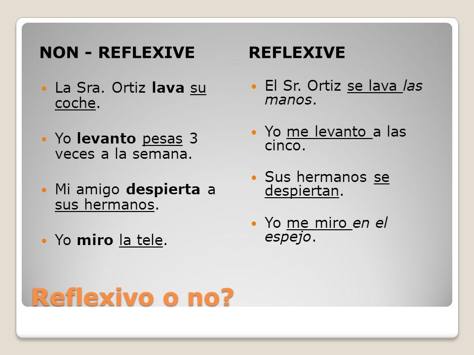 Reflexivo o no NON - REFLEXIVE REFLEXIVE La Sra. Ortiz lava su coche.