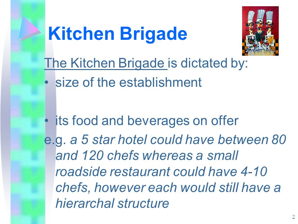 Kitchen Brigade The Kitchen Brigade is dictated by: