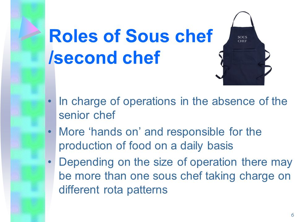 Roles of Sous chef /second chef