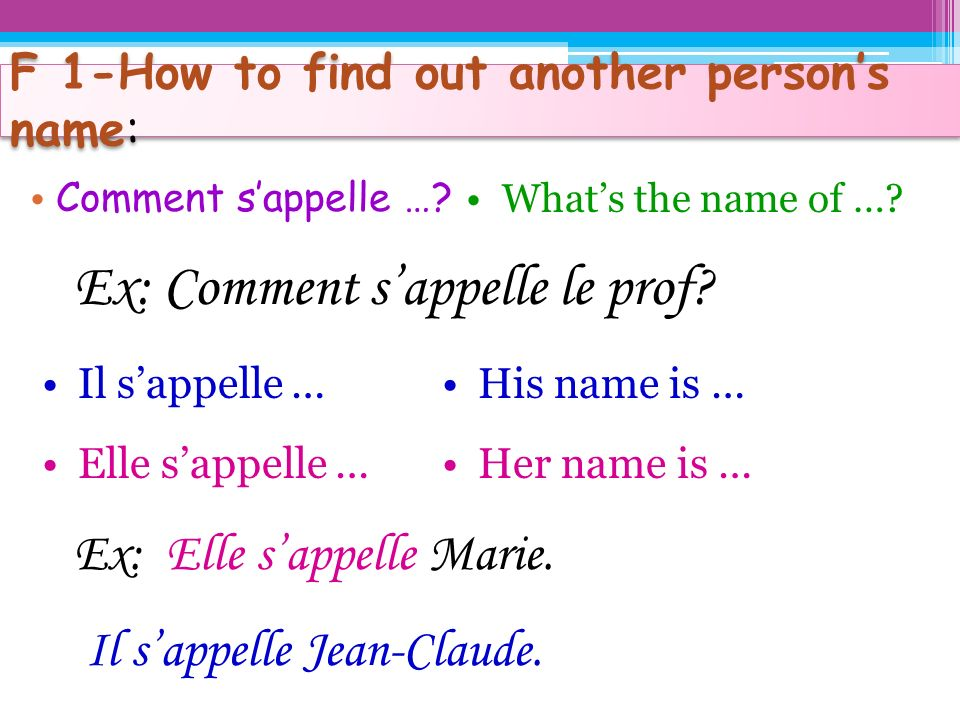 F 1-How to find out another person's name: