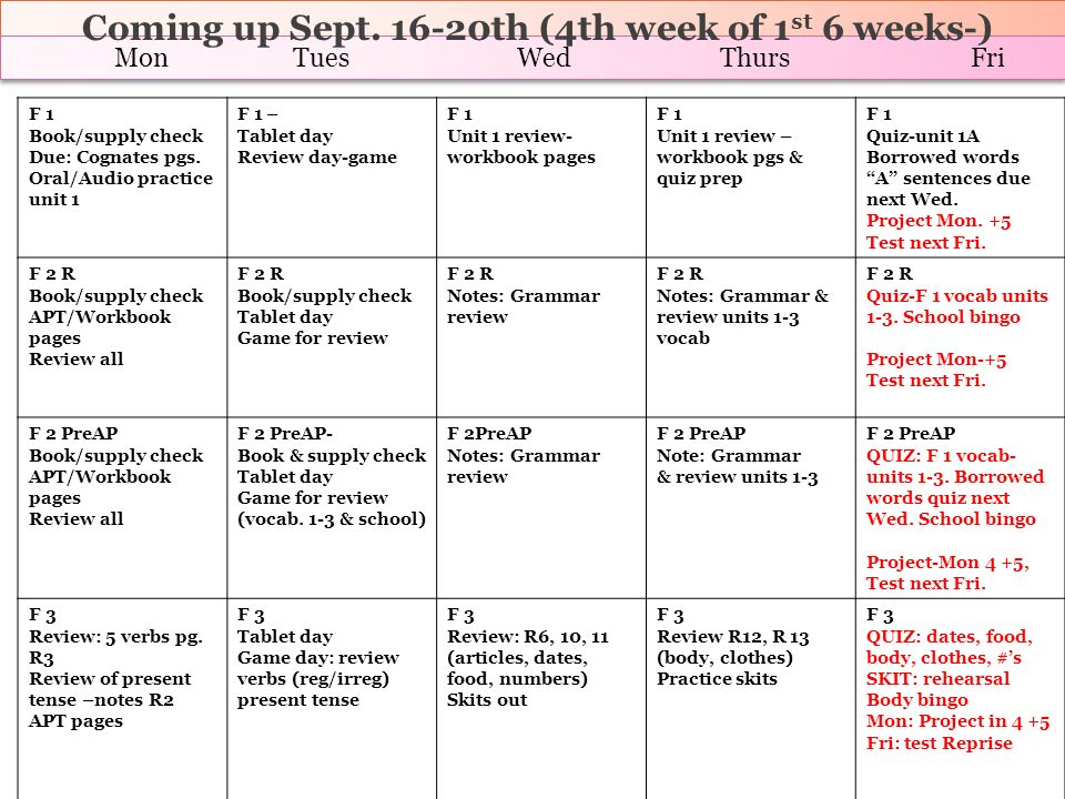Coming up Sept. 16-20th (4th week of 1st 6 weeks-)