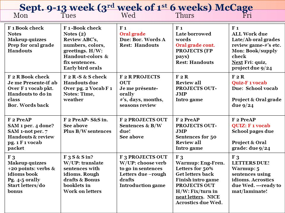 Sept. 9-13 week (3rd week of 1st 6 weeks) McCage