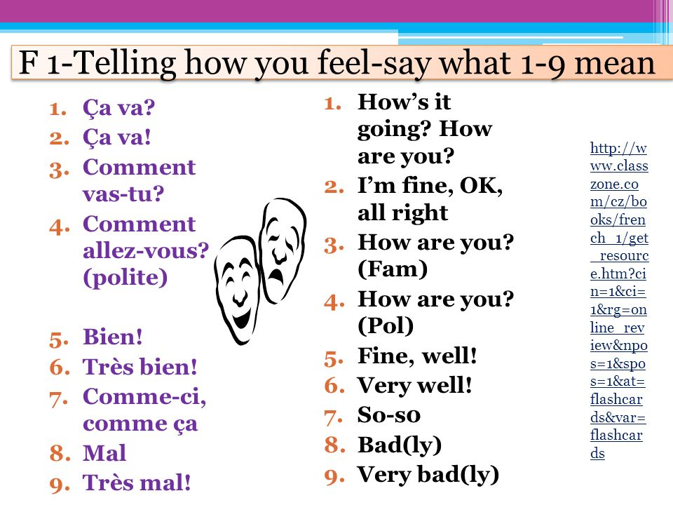 F 1-Telling how you feel-say what 1-9 mean