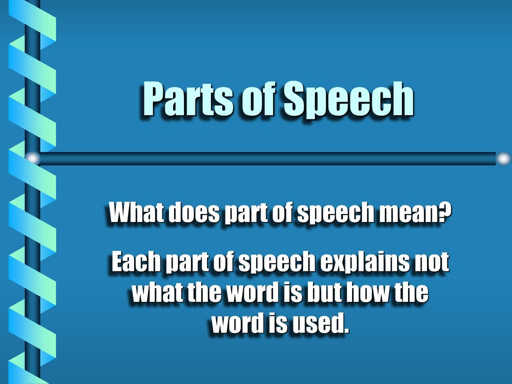 What does part of speech mean