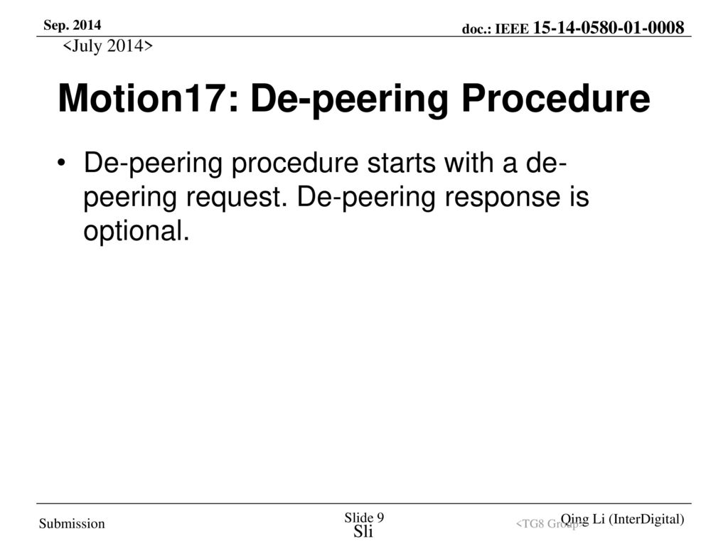 Motion17: De-peering Procedure