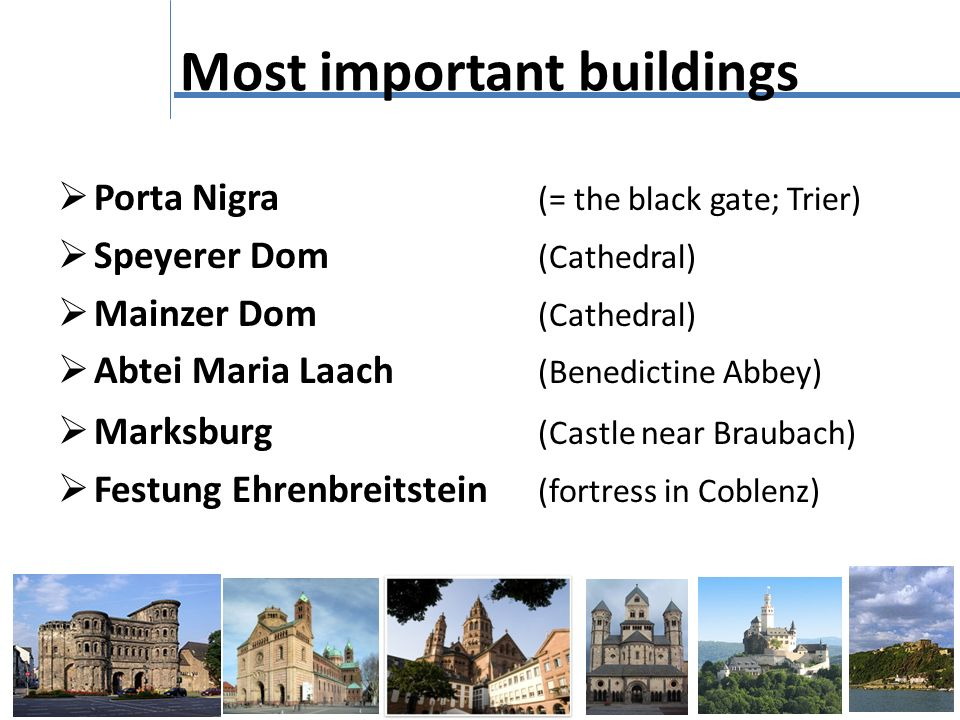 Most important buildings