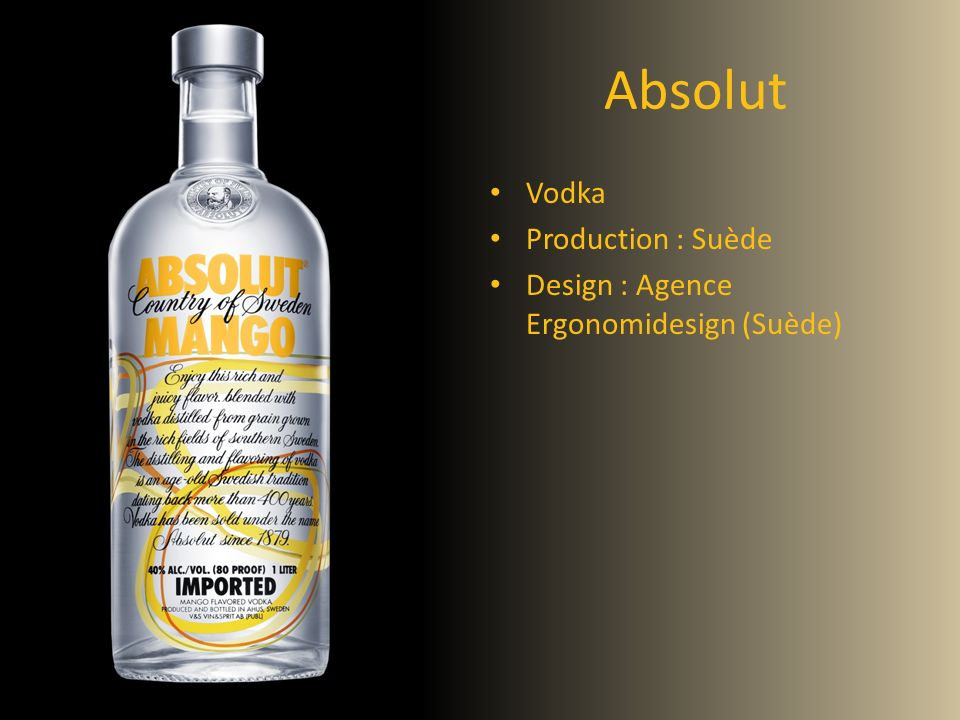 Absolut Vodka Production : Suède