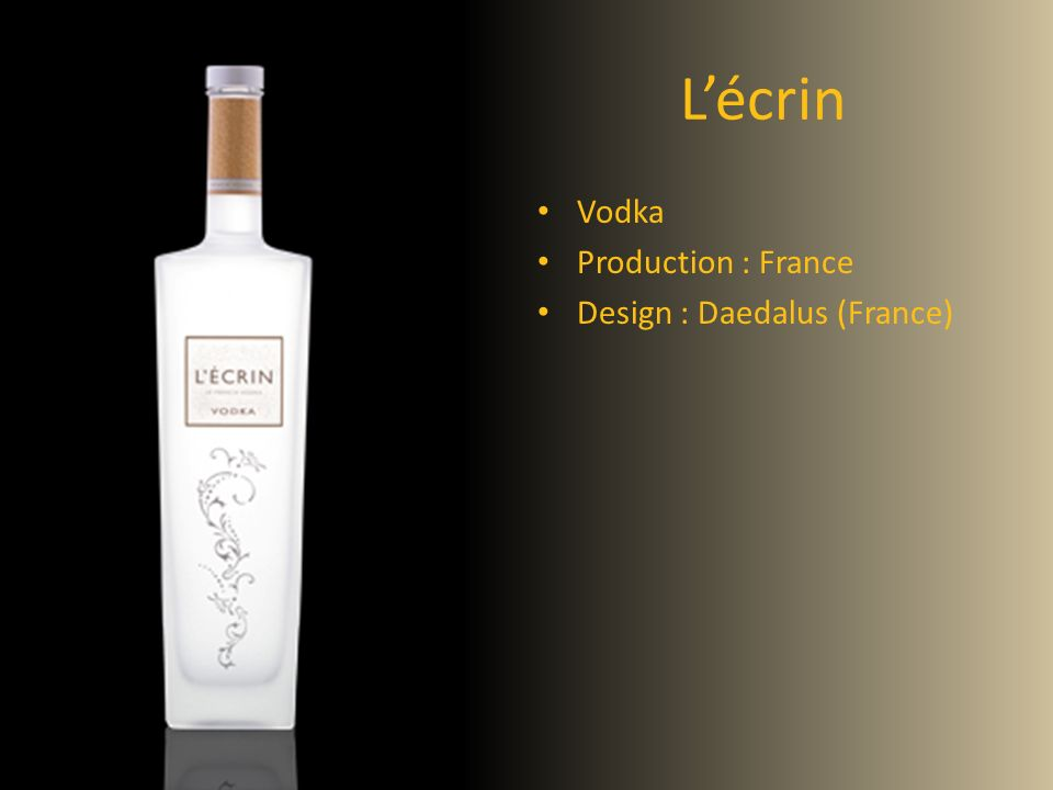 L'écrin Vodka Production : France Design : Daedalus (France) Vodka