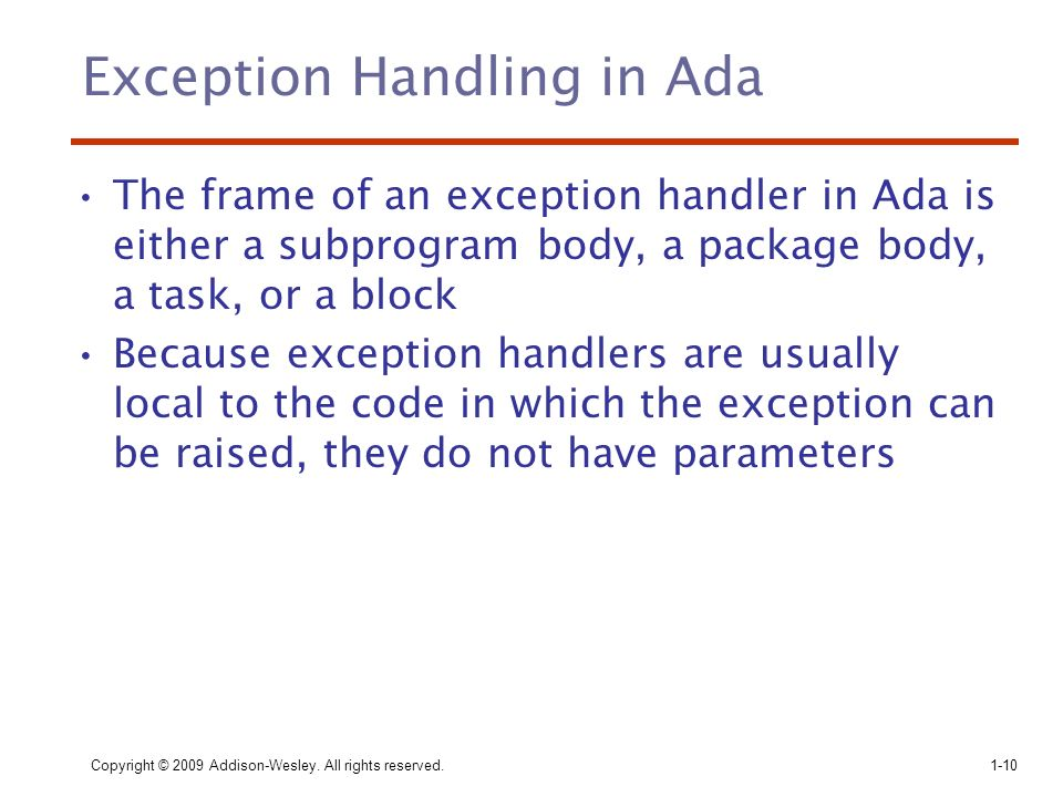 Exception Handling in Ada