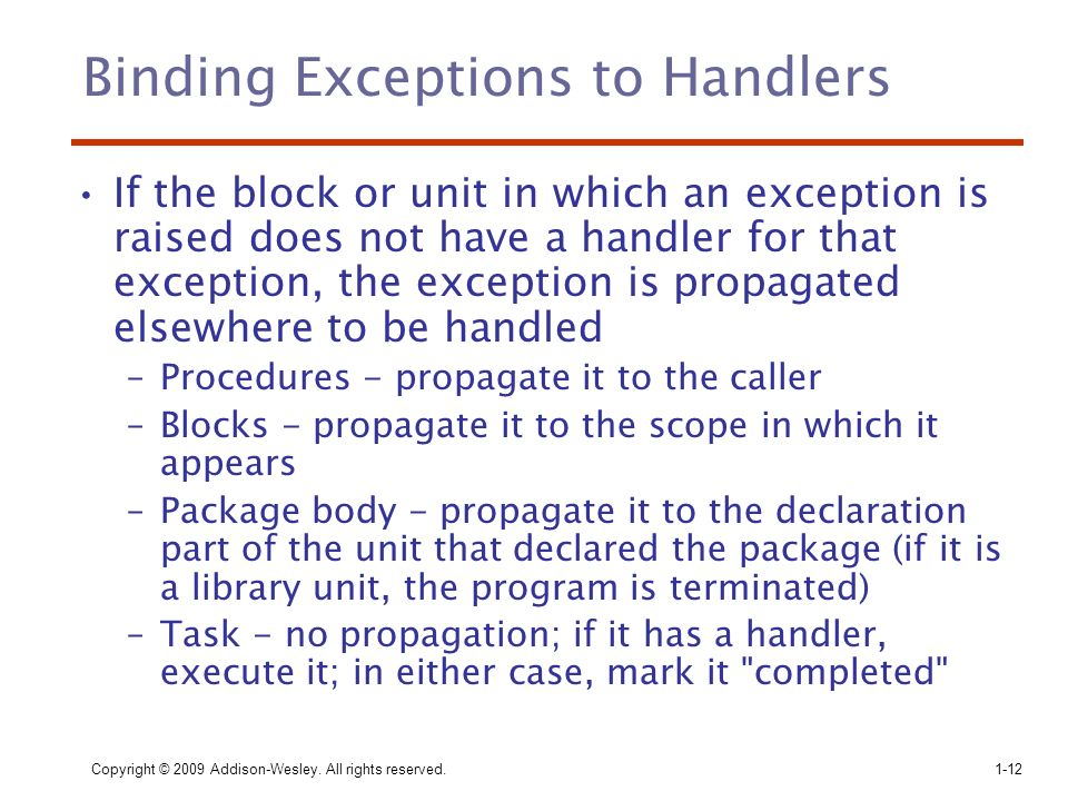 Binding Exceptions to Handlers