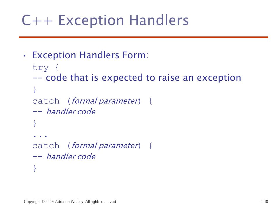 C++ Exception Handlers