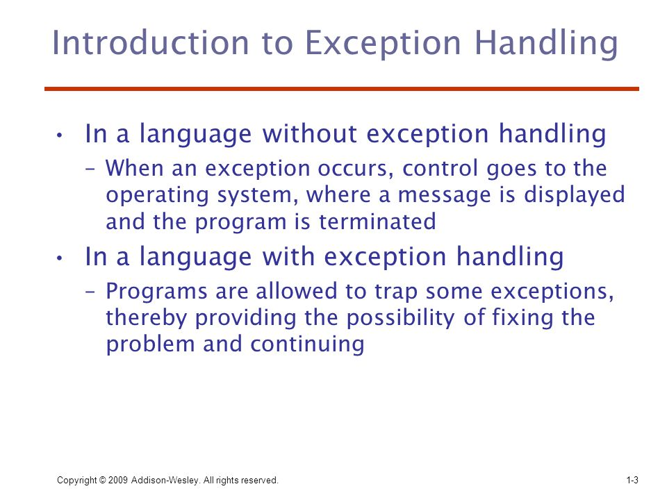 Introduction to Exception Handling