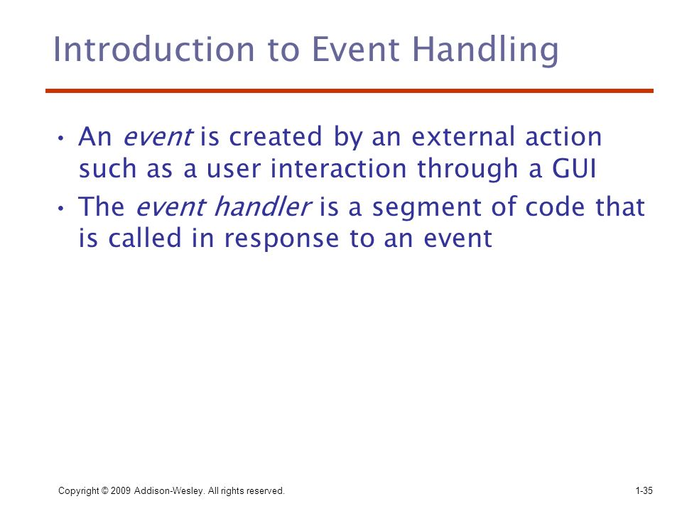 Introduction to Event Handling