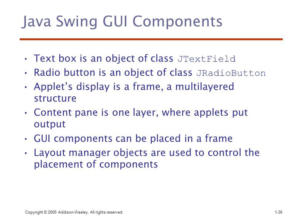 Java Swing GUI Components