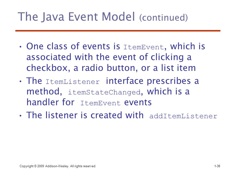 The Java Event Model (continued)