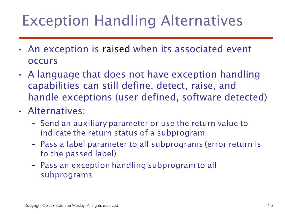 Exception Handling Alternatives