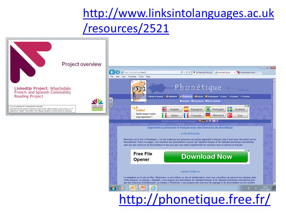 http://www.linksintolanguages.ac.uk/resources/2521 http://phonetique.free.fr/
