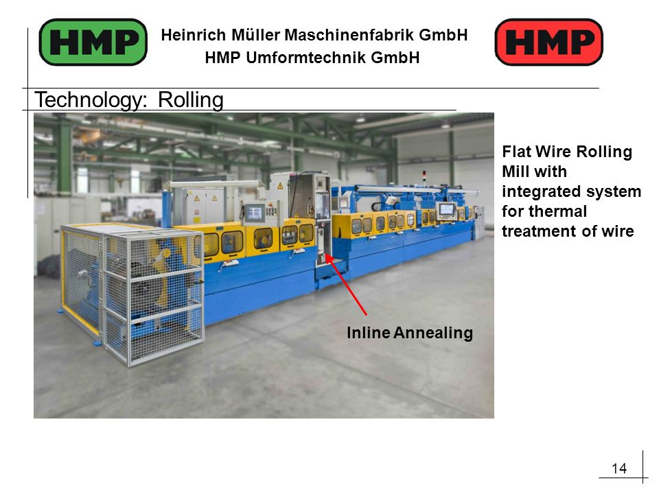 Technology: Rolling Flat Wire Rolling Mill with integrated system for thermal treatment of wire.