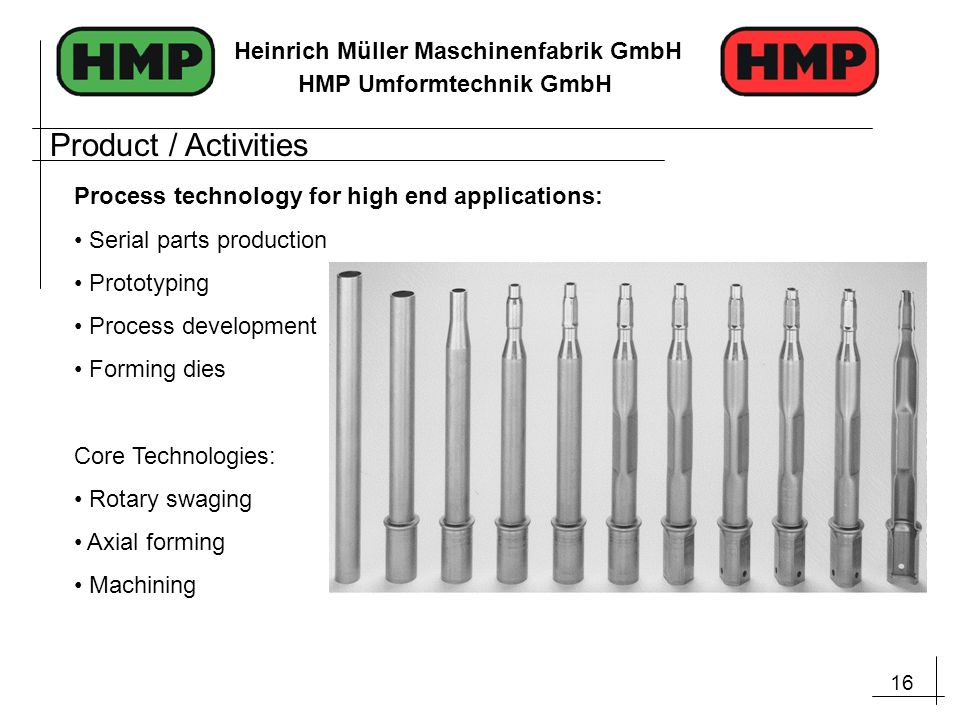 Product / Activities Process technology for high end applications: