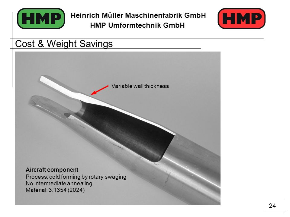Cost & Weight Savings Variable wall thickness Aircraft component