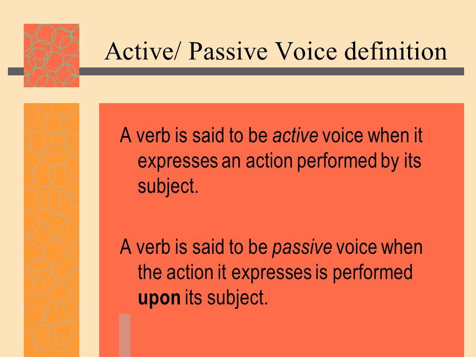 Active/ Passive Voice definition