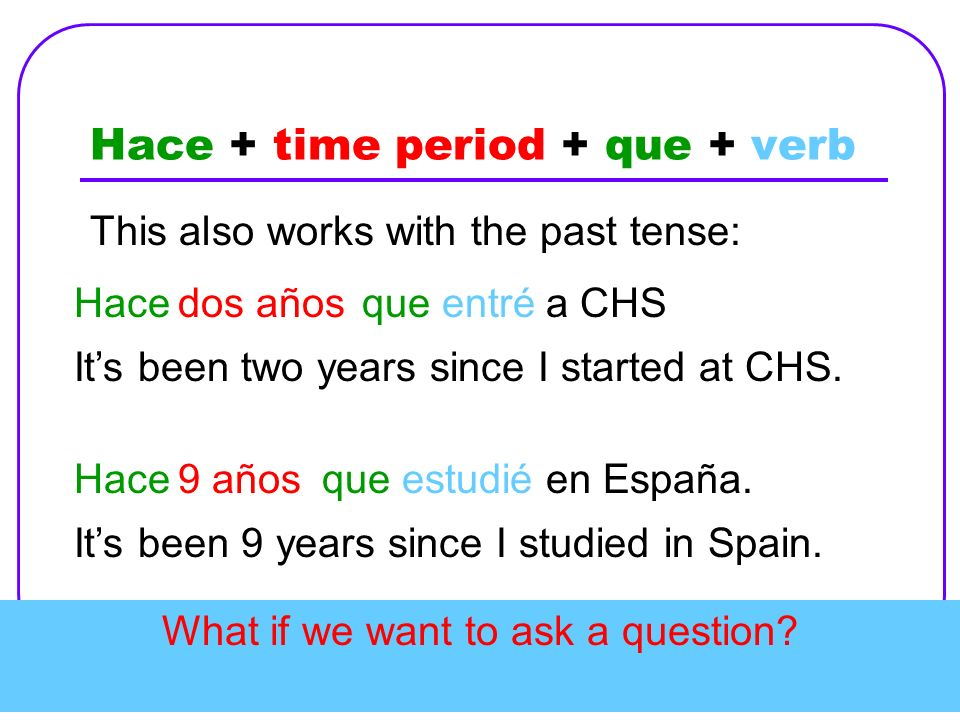 Hace + time period + que + verb