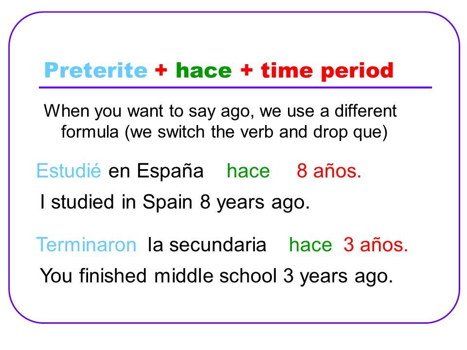 Preterite + hace + time period